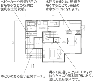 1階図面:1F床面積:52.17㎡